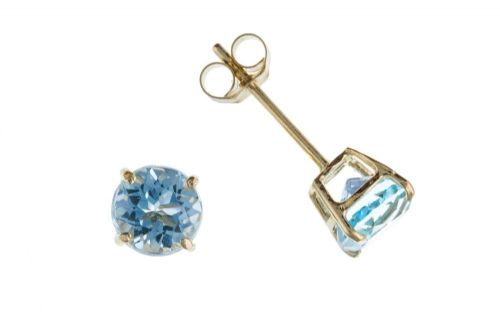 9 Carat Yellow Gold Blue Topaz Stud Earrings AP6840